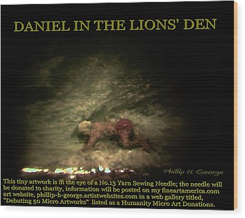 Daniel In The Lion's Den Info Photo No.1  Wood Print by Phillip H George