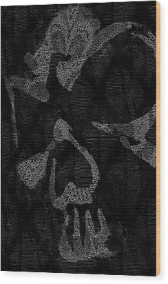 Dark Skull Wood Print by Roseanne Jones
