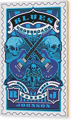 David Cook Umgx Vintage Studios Blues Crossroads Illustrated Stamp Art Poster Wood Print by David Cook  Los Angeles Prints