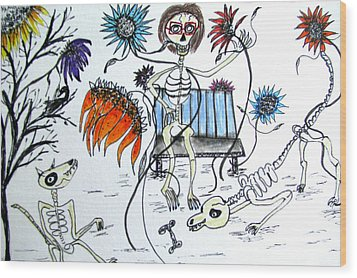 Day Of The Dead Dog Park Wood Print by Barbara Giordano