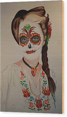 Day Of The Dead Wood Print by Teresa Beyer