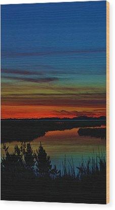 Deep Marshland Sunset Wood Print by William Bartholomew