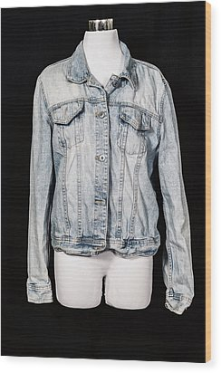 Denim Jacket Wood Print by Joana Kruse