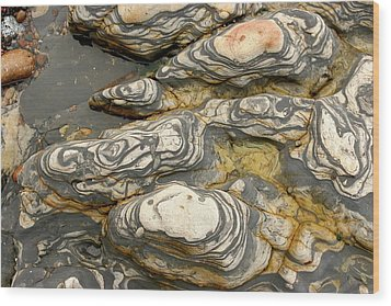 Detail Of Eroded Rocks Swirled Wood Print by Charles Kogod