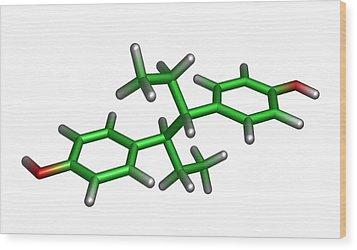 Diethylstilbestrol Drug Molecule Wood Print by Dr Tim Evans