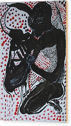 Wood Print featuring the painting Dinka Bride by Gloria Ssali