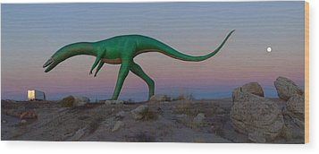Dinosaur Loose On Route 66 Wood Print by Mike McGlothlen