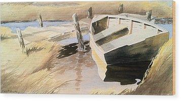 Docs Old Rowboat Wood Print by Don F  Bradford