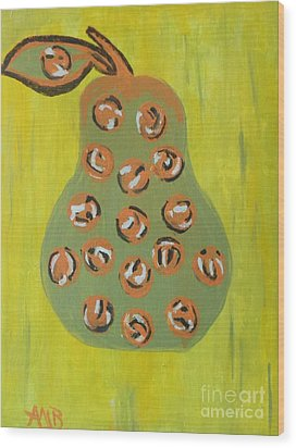 Don't Eat The Pear Wood Print by Marie Bulger