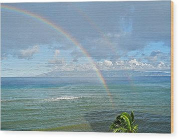 Double Rainbow In Maui Wood Print by Kirsten Giving