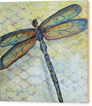 Dragonfly Dancer Wood Print by Susan Fisher