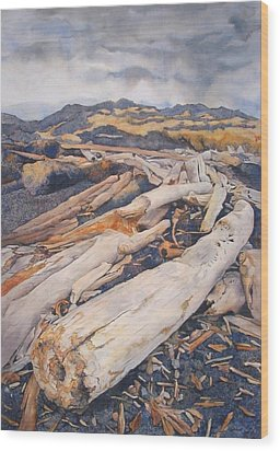 Driftwood Gathering Wood Print by Leslie Redhead