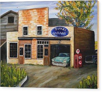Duke's Garage Wood Print by Renate Nadi Wesley