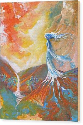Earth Angel Wood Print by Valerie Graniou-Cook