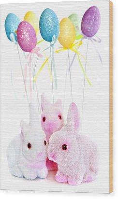 Easter Bunny Toys Wood Print by Elena Elisseeva