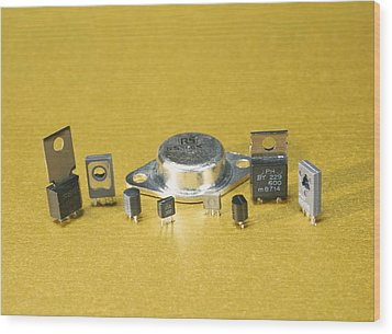Electronic Circuit Board Components Wood Print by Andrew Lambert Photography