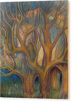 Elephant In Trees Wood Print