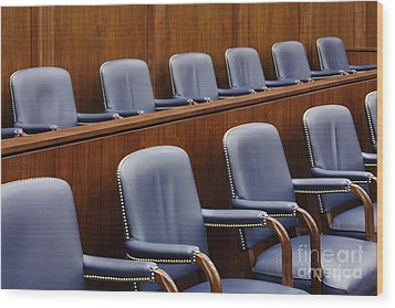 Empty Jury Seats In Courtroom Wood Print by Jeremy Woodhouse