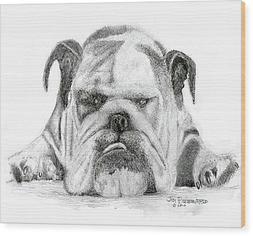 English Bulldog Wood Print by Jim Hubbard