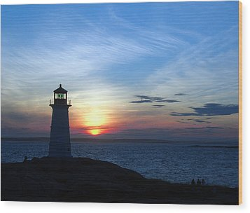 Evening At Peggy's Cove Wood Print by George Cousins