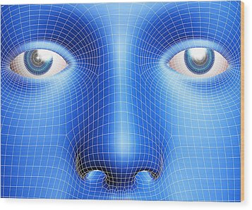 Face Biometrics Wood Print by Pasieka