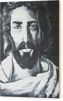 Face Of Christ Wood Print by Larry Cole