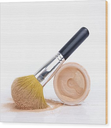 Face Powder And Make-up Brush Wood Print by Bernard Jaubert