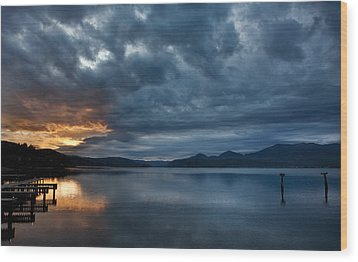 Fall Sunset Over Lake Pend Oreille Wood Print by Marie-Dominique Verdier