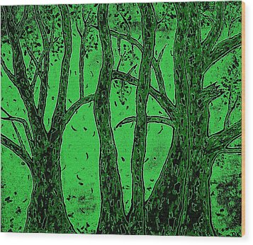 Falling Leaves Green Wood Print