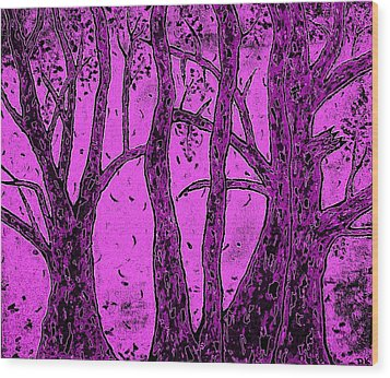 Falling Leaves Purple Wood Print