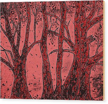Falling Leaves Red Wood Print