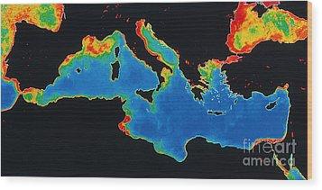 False-col Satellite Image Wood Print by Dr. Gene Feldman, NASA Goddard Space Flight Center