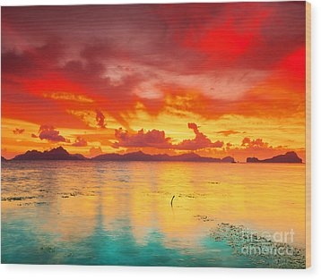 Fantasy Sunset Wood Print by MotHaiBaPhoto Prints