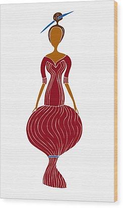 Fashion Drawing Wood Print by Frank Tschakert