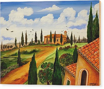 Wood Print featuring the painting Fattoria Toscana by Roberto Gagliardi