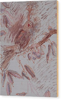 Feather Wood Print by Iris Gill
