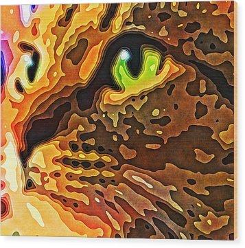 Feline Face Abstract Wood Print by David G Paul