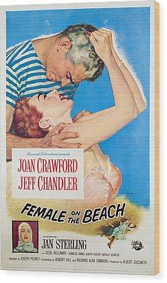 Female On The Beach, Jeff Chandler Wood Print by Everett