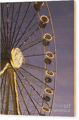 Ferris Wheel Wood Print by Bernard Jaubert