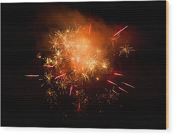 Firework Display At New Year's Eve Wood Print by Olaf Broders