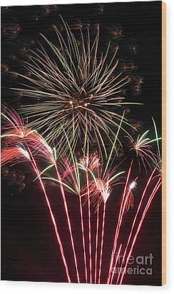 Fireworks Wood Print by Cindy Singleton