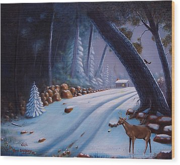 First Snow  Wood Print by Gene Gregory