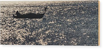 Fisherman Wood Print by Stelios Kleanthous