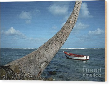 Fishing Boat And Palm Trunk Wood Print by Thomas R Fletcher