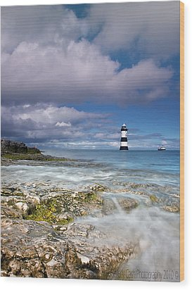 Wood Print featuring the photograph Fishing By The Lighthouse by Beverly Cash