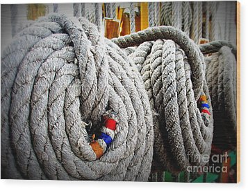Fleet Week - Ship's Ropes Wood Print by Maria Scarfone