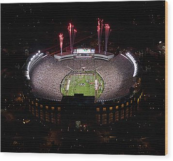 Florida State Fireworks Over Doak Campbell Stadium Aerial View Wood Print by Replay Photos