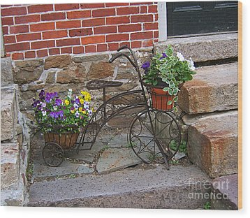 Flower Bicycle Basket Wood Print by Val Miller