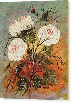 Flower Power Wood Print by Fram Cama