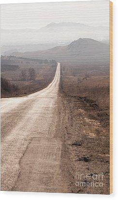 Foggy Road In Dobrogea Wood Print by Gabriela Insuratelu